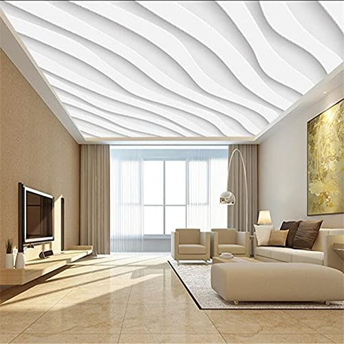 HGFHGD 3D Ceiling Wallpaper Atmospheric Simple White Award Wave Industry No. 1 Living