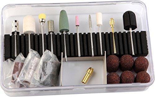 Nagelstudio Starterset Schleifer Set Poliererset Schleifkappen Schleifhülsen für Hornhaut Lackentfernung Acryl und Gelmodellagen geeignet AW-SJ220-32