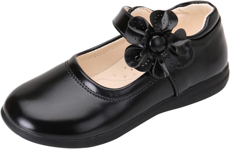 Little Kid Girl's Flower School Uniform Dress Shoes Ballet Flats Ballerina Flat Strap Shoes for Wedding Party 3-13 Years