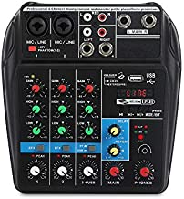 A4 4 Channels Audio Mixer Sound Mixing Console With Bluetooth USB Record 48V Phantom Power Monitor Paths Plus Effects Use for home music production, Webcast, K song