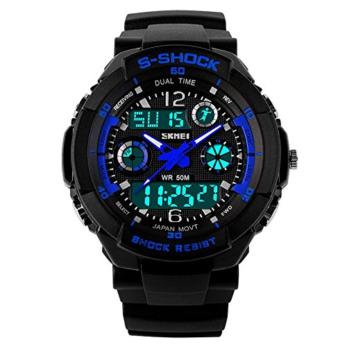 TONSHEN Mens Sport Digital Watch LED Electronic 164FT 50M Water Resistant Multifunction Dual Time Stopwatch Calendar Month Date Day Waterproof 12H24H Time Military Wristwatch Blue