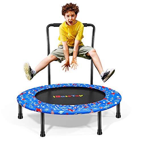 """Trampoline for Kids with Handle, 36"""" Mini Foldable Toddler Trampoline with Safety Cover, Upgraded Indoor Outdoor Small Kids Rebounder Trampoline for Boys Girls for Play & Exercise"""
