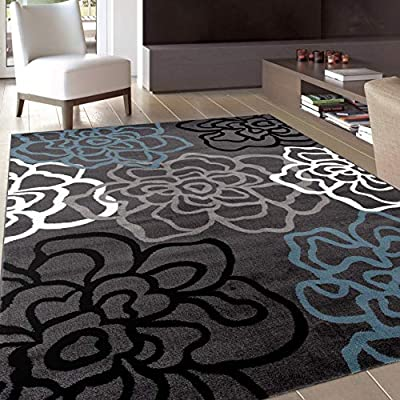 """Contemporary Modern Floral Flowers Gray Area Rug 5' 3"""" X 7' 3"""""""