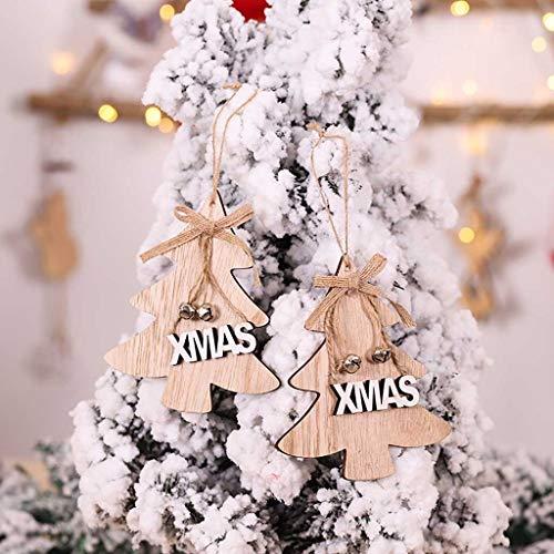 Dasongff kerstdecoratie hout Xams kerstboomversiering Xams boomversiering Kerstmis hanger kerstboomversiering kerstballen 1 PC geel