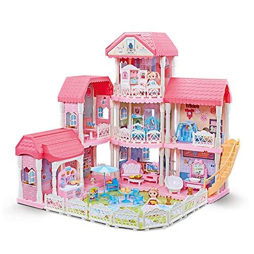 Anmy Puppenhaus Modell Haus Modell Puppen Haus 3D Puzzle für Kinder Kinder Geburtstagsgeschenke (Farbe : Pink, Size : Three Floors)