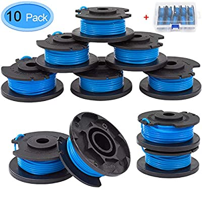 "EAONE 10 Pack Trimmer String Replacement for Ryobi, 0.065"" Single Line Auto-Feed Replacement Trimmer Spool for Ryobi 18V, 24V and 40V Cordless Trimmers with Storage Box"