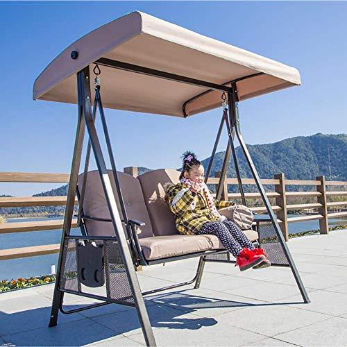 Nosson - Banco para exterior, columpio, hamaca, jardín, patio, silla, banco exterior de alto rendimiento con protección solar, marco de metal, para exterior, terraza