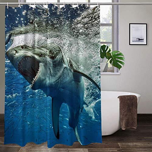 Big Mouth Shark Duschvorhang für Badezimmer, toller weißer Hai, Meerestiere, Polyester-Stoff, Badvorhänge mit 12 Haken, 152,4 x 182,9 cm