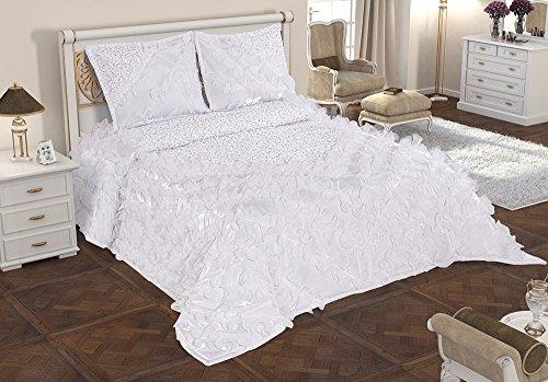Fiona 3-Teilige King TAGESDECKE BETTÜBERWURF DOPPELBETT BETTGARNITUR 250cm x 260cm + 2 KISSENBEZÜGE in Weiß