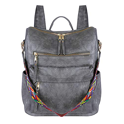 COOFIT Backpack Purse for Women PU Leather Backpack Ladies Backpack Casual Shoulder Bag Travel Daypack grey Size: L