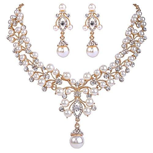EVER FAITH Flower Simulated Pearl Wedding Jewelry Set Clear Austrian Crystal - Gold-Tone