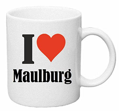 Reifen-Markt Kaffeetasse I Love Maulburg Keramik Höhe 9,5cm ⌀ 8cm in Weiß