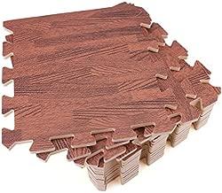 Tebery 16 Pieces Printed Wood Grain Floor Tiles 3/8-Inch Thick EVA Foam Puzzle Floor Mat (Dark Wood)