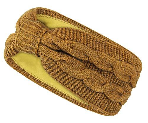 Frentree Damen Stirnband gestricktes Haarband mit Schleife und Zopfmuster, Mädchen Ohrenwärmer gefüttert mit weichem Fleece Innenfutter, SB1019