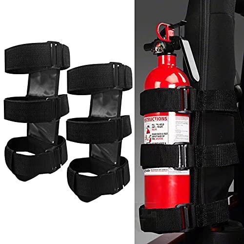 Car Roll Bar Fire Extinguisher Holder Replacement for Jeep Wrangler CJ YJ TJ LJ JK JKU JL JLU, Polaris Ranger RZR General RS1, Can Am Maverick X3 & More - Adjustable Extinguisher Mount Strap