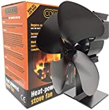 Cosystove 4 Blade Heat Powered High Efficiency Silent Black Wood Burning Multi Fuel Stove Fan Batteries Not Required