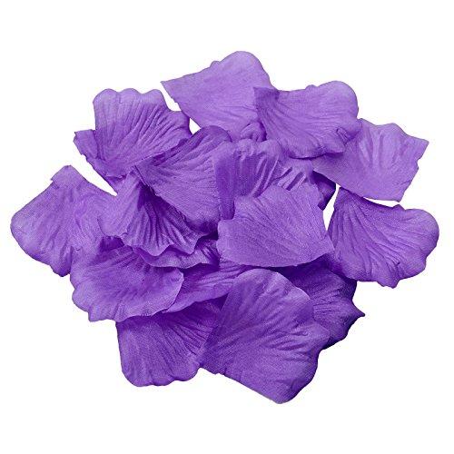 Doutop - Coriandoli a forma di petali di rosa artificiali, per matrimonio, colore viola
