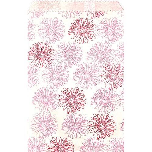 100 Papier-Geschenktüten mit Blumenmuster, für Einkaufstaschen, Bastelarbeiten, Bücher, Zeitschriften, Einkaufstaschen, Zeitschriften, Bücher, Partys, Geschenktüten, T-Shirts, 21,6 x 27,9 cm, Pink