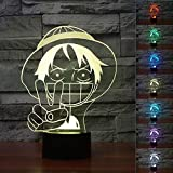 3D Luffy Nightlight Led Baby Sleep Lighting Colorful Gradient Anime Lampada Da Tavolo Deco...