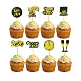 WELLXUNK Cupcake Toppers Decoración,16 Piezas Cupcake Toppers Picks,Feliz año Nuevo Cake Topper Cheers 2020 Cupcake Toppers,para Fiesta de Nochevieja Suministros de Pastel