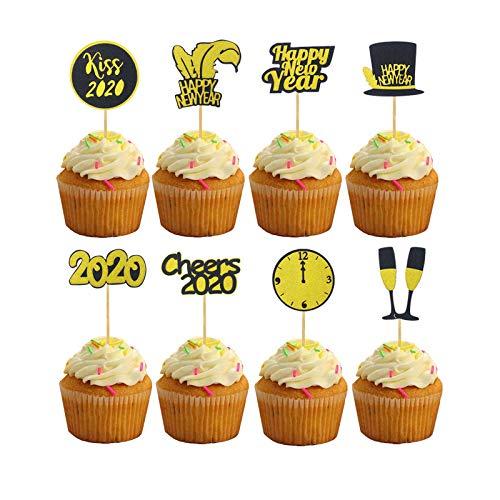 Toppers torta,16 pezzi Cupcake Topper Decorazioni,Toppers Cupcake Glitter Gold,2020 Cupcake Toppers Capodanno per Torte Festa di Capodanno