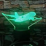 3D Led Boeing Avion De Guerre Avion De Chasse Veilleuses Lampe De Table Multi Couleurs Militaire Jet Avion Avec Usb Power Decor Cadeau