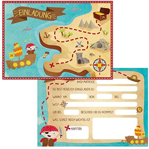 Oblique-Unique® 12 Einladungskarten zum Kindergeburtstag Pirat // Geburtstagseinladungen Jungen Mädchen Kinder Einladungen Schatzkarte Schatzsuche Piratenparty Geburtstag Karten Set