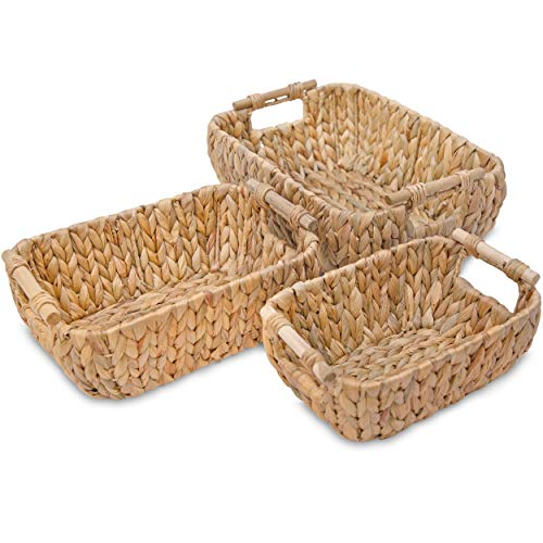Water Hyacinth Wicker Storage Baskets for Organizing, Wicker Baskets for Storage, Stackable Decorative Wicker Baskets with Built-in Handles for Shelves, Set of Wicker Baskets for Home