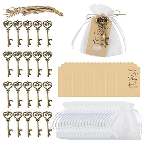 Comius Sharp Sacchetti in Organza, 20 Pezzi Vintage Chiave Apribottiglie + Borsa delle Caramelle + Cartellini Regalo in Carta Kraft + Corda di Juta Naturale per Compleanno, Battesimo, Comunione