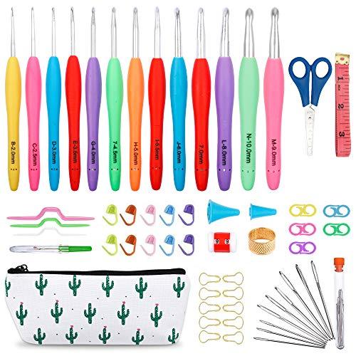 Inscraft Crochet Hook Set, 13 PCS 2mm(B)-10mm(N) Ergonomic Soft Grip Handles Yarn Knitting Needle Kit with Case, Total 73 PCS Accessories for Arthritic Hand