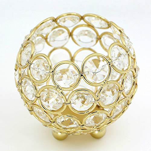 FScl Een Kristallen Bol Kandelaar Vaas Road Lead Ball Type Kandelaar Wedding Kandelaar Decoratie, Maat: 80mm (zilver) (Color : Gold)