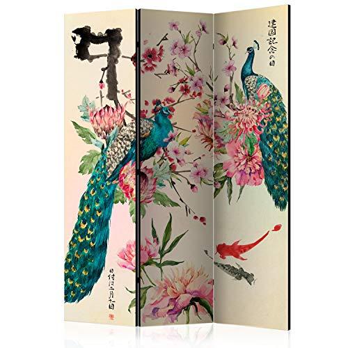murando Raumteiler Foto Paravent Orient Japan Asia 135x172 cm einseitig auf Vlies-Leinwand Bedruckt Trennwand Spanische Wand Sichtschutz Raumtrenner Home Office Blumen Zen Pfau p-C-0002-z-b