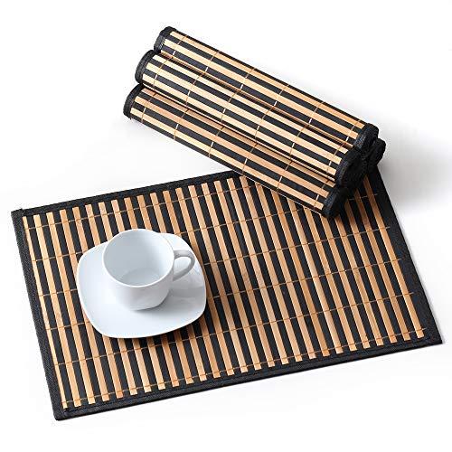 LOVECASA, Set de Table en Bambou 6 Pcs, Napperons Lavable, Antidérapant, Tapis de Table Résistant à la Chaleur