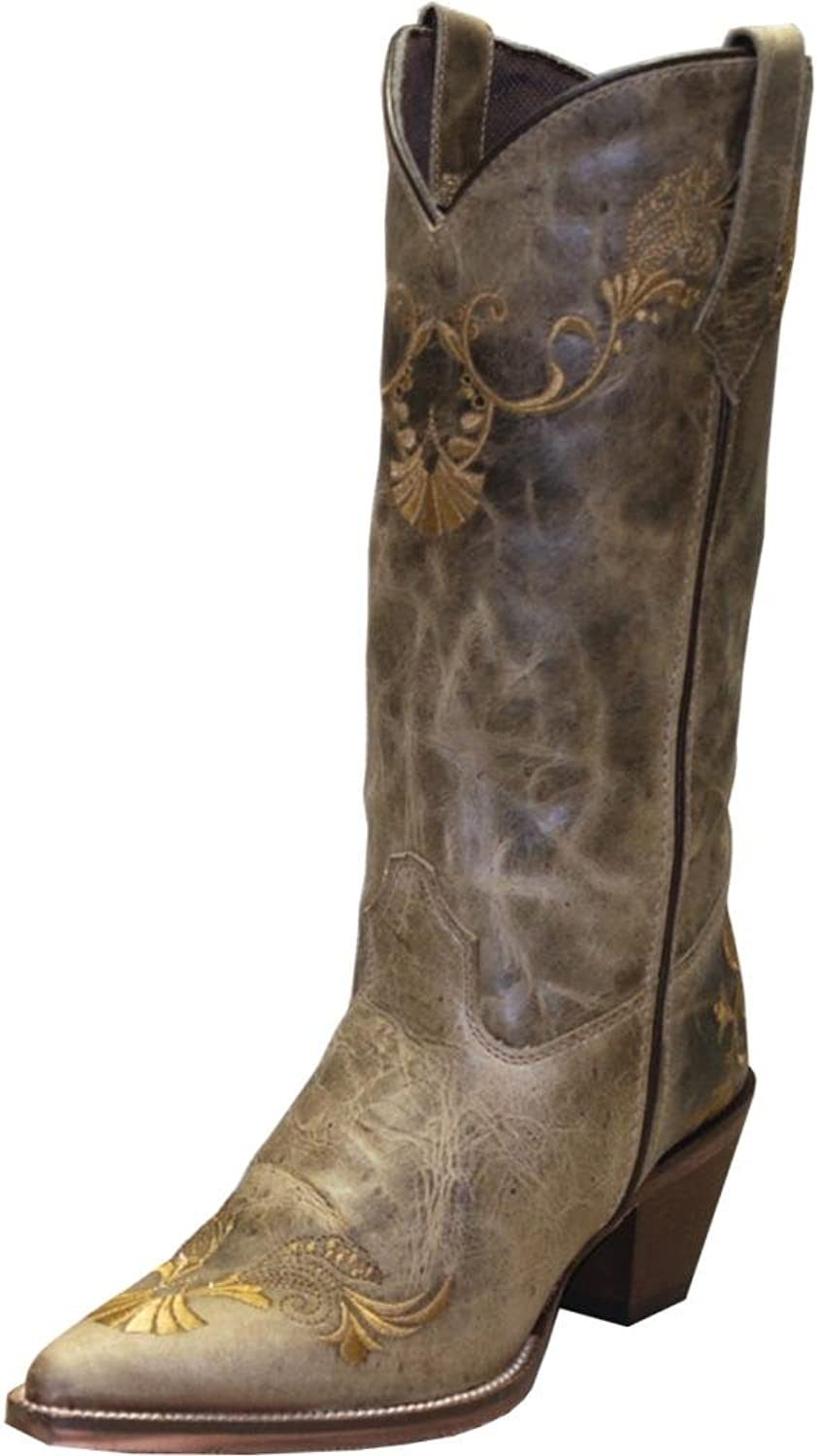 Abilene Women's Rawhide By Boot Embroidered Western Pointed Toe Tan US