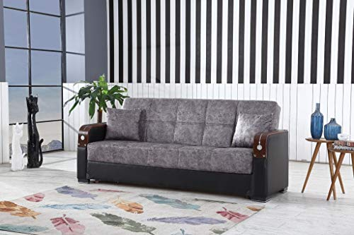 Berlin - Sofá cama de 3 plazas, diseño otomano, color negro y gris