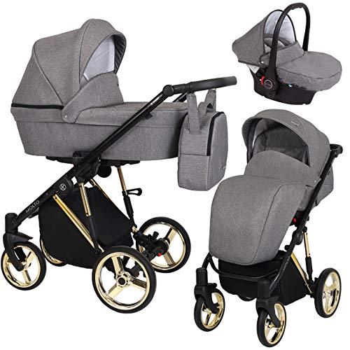 KUNERT Kinderwagen MOLTO PREMIUM Sportwagen Babywagen Autositz Babyschale Komplettset Kinder Wagen Set 3 in 1 (Graphit Jeans, Rahmenfarbe: Gold, 3in1)