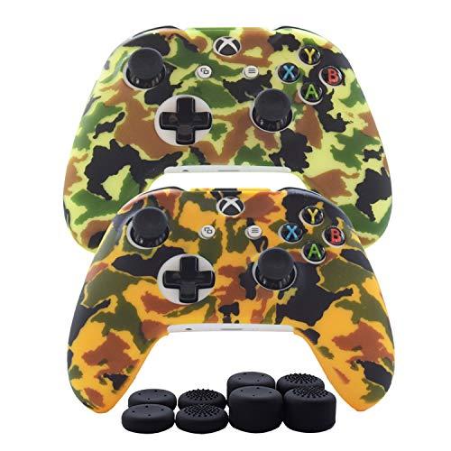 Hikfly 2pcs Silicona Gel Control de Aceite de Goma Cubierta de Piel Protectora Caso Faceplates Kits para Xbox One Control Juegos de Controladores(Amarillo, verde claro)