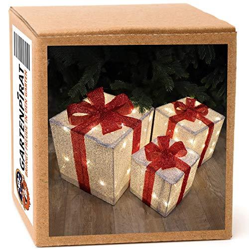 3er Geschenkboxen 30/25/20cm LED warmweiß beleuchtet Geschenke mit Schleife außen