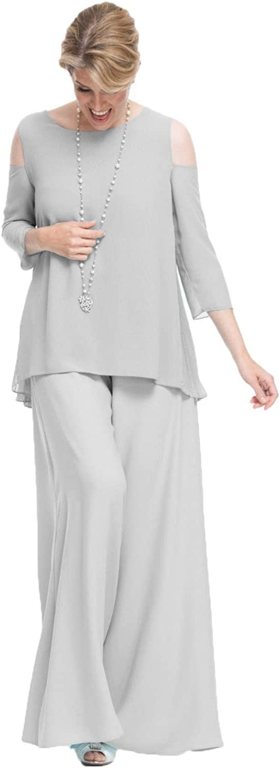 HYC Chiffon Mother of The Bride Pants Suits 2 Pieces Formal Wedding Plus Size Long Sleeve Groom Outfit Garment