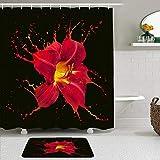Juego de cortinas y tapetes de ducha de tela,Lirio negro y rojo Pétalo floral Molécula líquida abstracta Salpicadura D,cortinas de baño repelentes al agua con 12 ganchos, alfombras antideslizantes