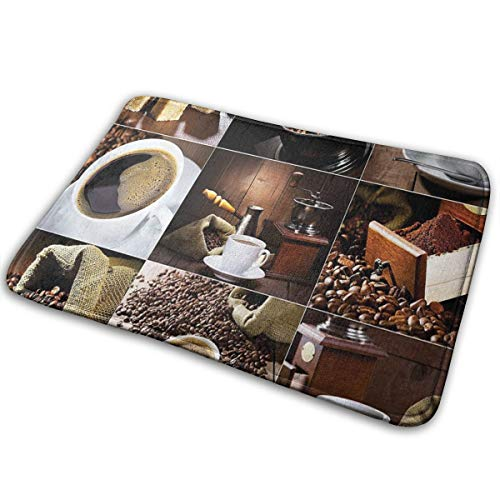 Hat&C Carpet 15.7' X 23.5' Kitchen Different Photos Of Coffee Mugs And Roasted Bean Bags Grinder Sugarcubes Collage Brown White Room Bathroom Rug Non-Slip Resistant Door Indoor Mat