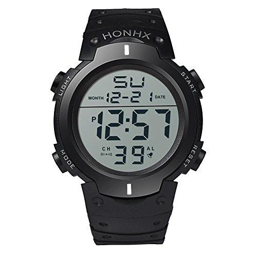 Herren wasserdicht LCD Digital Stoppuhr Datum Gummi Sportuhr LED-Anzeige Herren Digitaluhr Militär Outdoor Sportuhr (B)