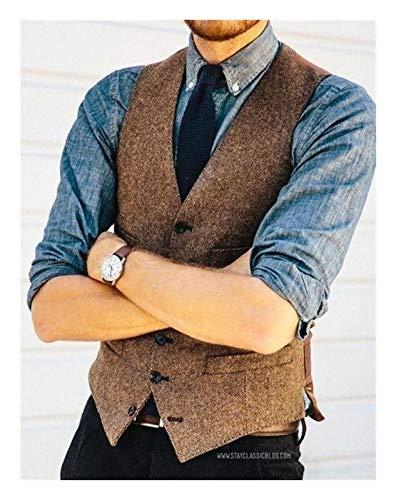 Brown Herringbone Tweed Vests Slim Mens Suit Vests Sleeveless Suit Jacket Mens Dress Wedding Waistcoat (Color, Size : M.)