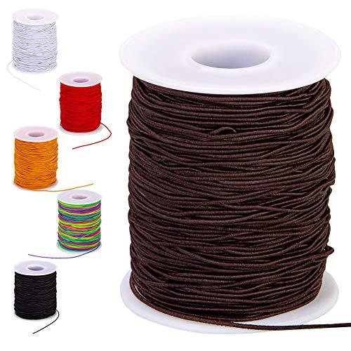 0.8mm Elastic String for Bracelets, 100-Meter Brown Elastic Bracelet String for Jewelry Making, Stretch Cord for Beads Beading Bracelets Necklace Anklets(Brown, 0.8mm)