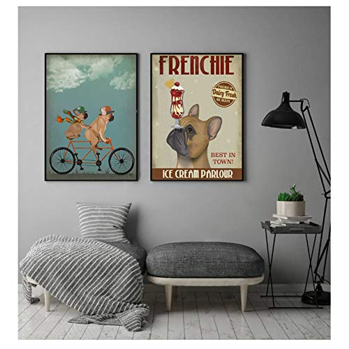 Bulldog ijs hond schilderij canvas foto's voor woonkamer hond fiets Wall Art Retro posters en prints-40x60cmx2 zonder frame