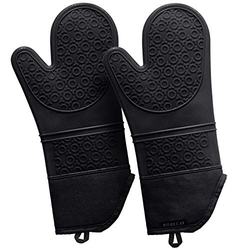 Rorecay 15 Inches Silicone Oven Mits: 500 F Heat Resistant Kitchen Mittens Extra Long Oven Mitts Non Slip Pot Holders Flexible Potholders for Cooking Baking, Organic Cotton Infill, Black, Pack of 2
