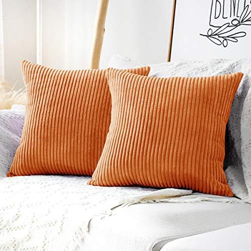 MUDILY 2 Stück Halloween Dekorative Wurfkissenbezüge Gestreift Samt Cord Couch Kissen Kissenbezüge Kissenbezüge für Sofa Schlafzimmer Auto Orange 30,5 x 30,5 cm