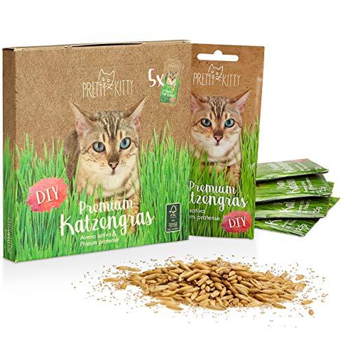 PRETTY KITTY Premium Katzengras Saatmischung: 5 Beutel je 25g Katzengras Samen für 50 Töpfe fertiges Katzengras – Eine grüne Katzen Wiese – Natürliche Katzen Leckerlies – Pflanzen Samen - Grassamen