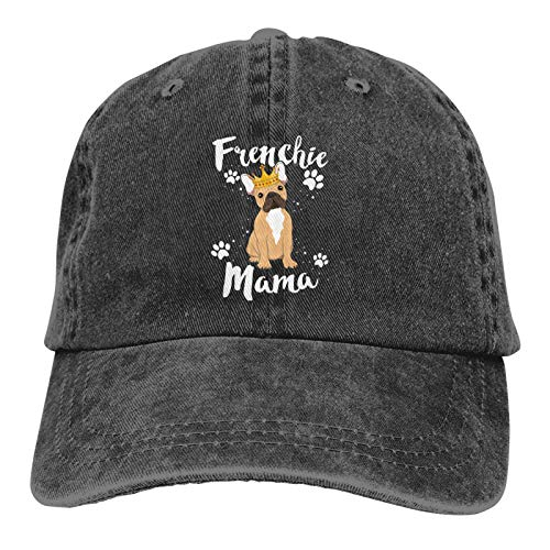 French Bulldog Frenchie Mama Hats for Men Women Distressed Baseball Cap Beach Dad Sun Hat Black