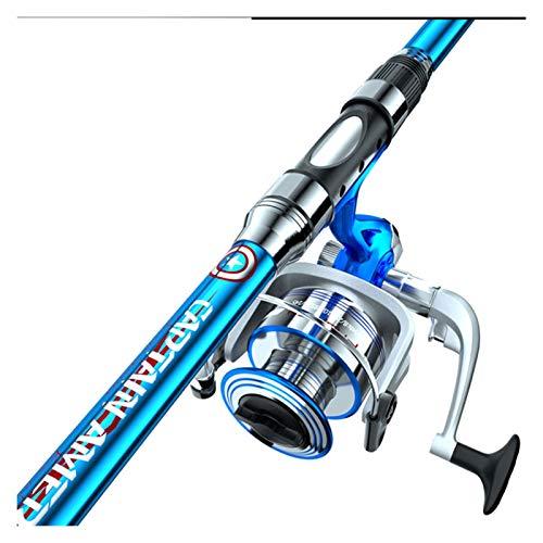 Nostalgie Caña de Pescar y Carrete Combos Pole de Pesca Telescópica de Fibra de Carbono con Línea de Pesca Kit de Cebo Medium Heavy Spinning Reel (tamaño : 2.1m)